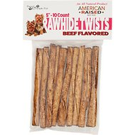 Pure & Simple Pet Beef Flavored Rawhide Twist Dog Treat, 5-inch, 10 count