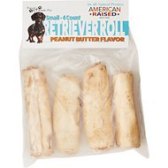 Pure & Simple Pet Peanut Butter Flavored Rawhide Retriever Roll Dog Treat, Small, 4 count