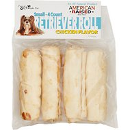 Pure & Simple Pet Chicken Flavored Rawhide Retriever Roll Dog Treat, Small, 4 count