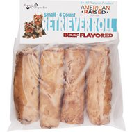Pure & Simple Pet Beef Flavored Rawhide Retriever Roll Dog Treat, Small, 4 count