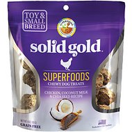 Solid Gold Superfoods Chicken, Coconut Milk & Chia Seed Recipe Small Breed Chewy Grain-Free Dog Treats, 4-oz bag