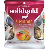 Solid Gold Superfoods Beef, Mango & Turmeric Recipe Grain-Free Chewy Dog Treats, 2-oz bag