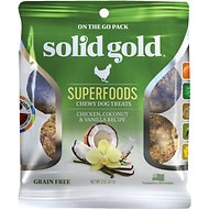Solid Gold Superfoods Chicken, Coconut & Vanilla Recipe Grain-Free Chewy Dog Treats, 2-oz bag