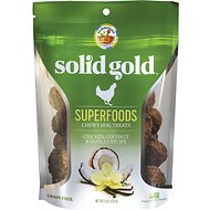 Solid Gold Superfoods Chicken, Coconut & Vanilla Recipe Grain-Free Chewy Dog Treats, 6-oz bag