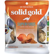 Solid Gold Superfoods Turkey, Sweet Potato & Cinnamon Recipe Grain-Free Chewy Dog Treats, 2-oz bag