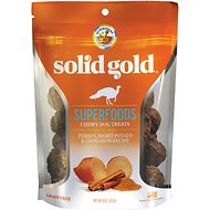 Solid Gold Superfoods Turkey, Sweet Potato & Cinnamon Recipe Grain-Free Chewy Dog Treats, 6-oz bag
