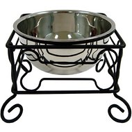 YML Wrought Iron Stand with Stainless Steel Dog Bowl, Large