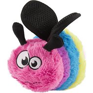 GoDog Bugs Bee Chew Guard Plush Squeaker Dog Toy, Multi, Large