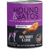 Hound & Gatos Turkey Formula Grain-Free Dog Food, 13-oz, case of 12