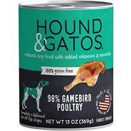 Hound & Gatos Gamebird Formula Grain-Free Dog Food, 13-oz, case of 12