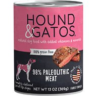 Hound & Gatos Original Paleolithic Diet Formula Grain-Free Dog Food, 13-oz, case of 12
