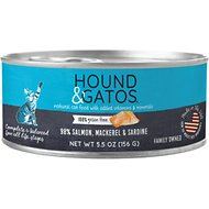 Hound & Gatos Salmon, Mackerel, Sardine Formula Grain-Free Cat Food, 5.5-oz, case of 24