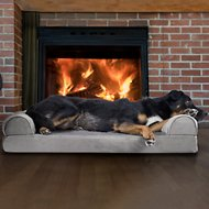 FurHaven Faux Fur & Velvet Orthopedic Sofa Dog & Cat Bed, Smoke Gray, Large