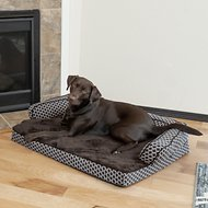 FurHaven Comfy Couch Orthopedic Sofa Dog & Cat Bed, Diamond Brown, Large