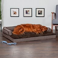 FurHaven Comfy Couch Orthopedic Sofa Dog & Cat Bed, Diamond Brown, Jumbo