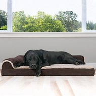 FurHaven Two-Tone Faux Fur & Suede Deluxe Chaise Lounge Orthopedic Dog & Cat Bed, Espresso, Jumbo