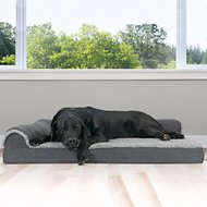 FurHaven Two-Tone Faux Fur & Suede Deluxe Chaise Lounge Orthopedic Dog & Cat Bed, Stone Gray, Jumbo