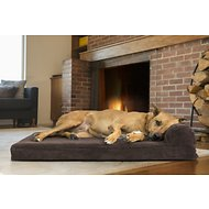 FurHaven Faux Fleece & Corduroy Chaise Lounge Orthopedic Dog & Cat Bed, Large, Dark Espresso