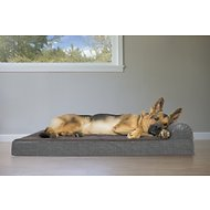 FurHaven Quilted Fleece & Print Suede Chaise Lounge Orthopedic Dog & Cat Bed, Espresso, Jumbo