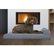 FurHaven Quilted Fleece & Print Suede Chaise Lounge Orthopedic Dog & Cat Bed, Large, Titanium