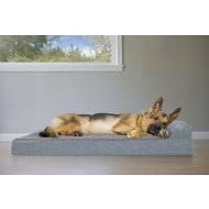 FurHaven Quilted Fleece & Print Suede Chaise Lounge Orthopedic Dog & Cat Bed, Jumbo, Titanium