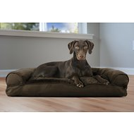 FurHaven Plush & Suede Pillow Sofa Dog & Cat Bed, Espresso, Large