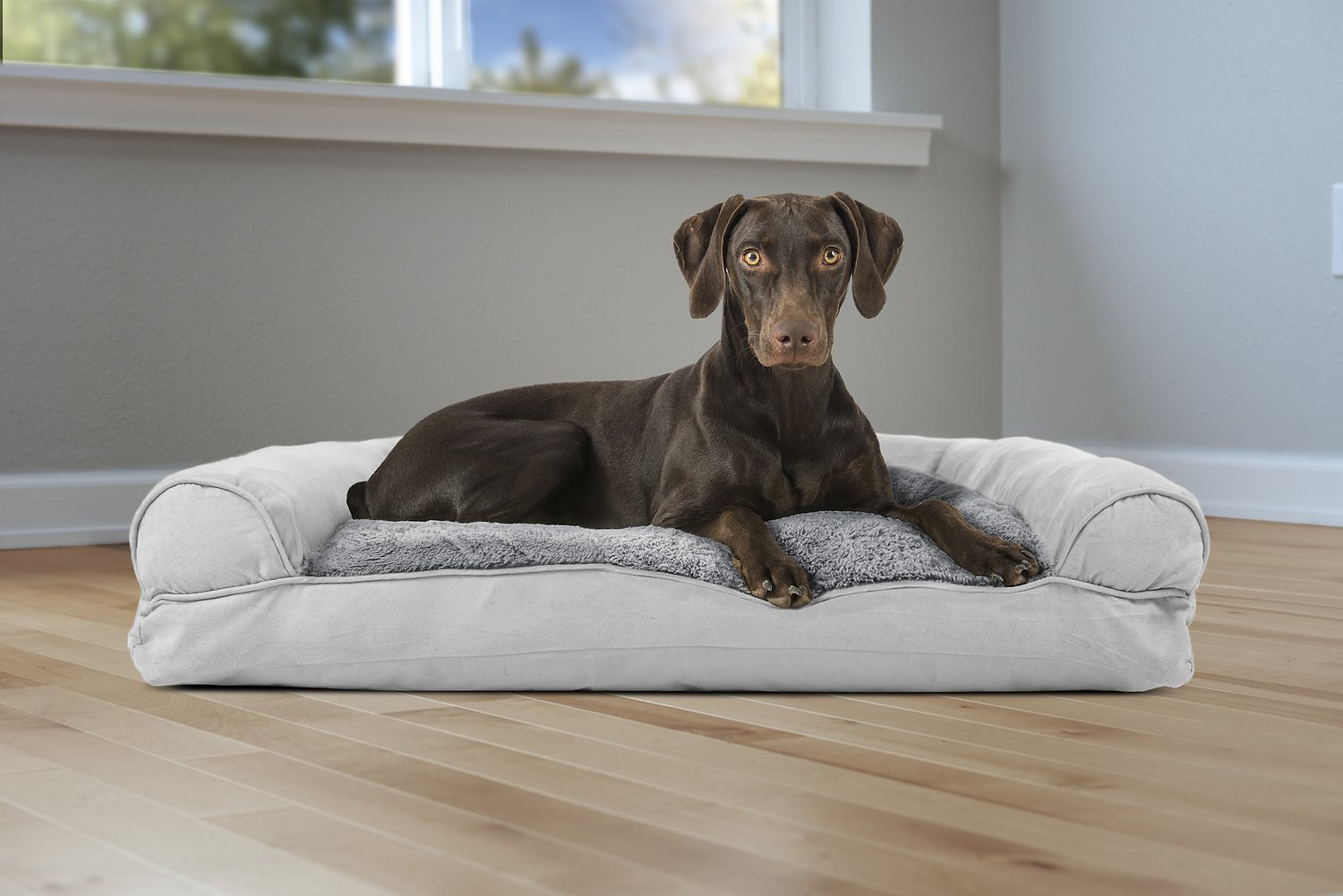 Furhaven Plush Suede Pillow Sofa Dog Cat Bed Gray Large