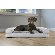 FurHaven Plush & Suede Pillow Sofa Dog & Cat Bed, Gray, Large