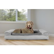 FurHaven Plush & Suede Pillow Sofa Dog & Cat Bed, Gray, Jumbo