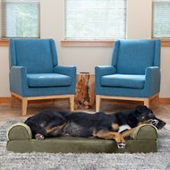 FurHaven Faux Fur & Velvet Memory Top Sofa Dog & Cat Bed, Large, Dark Sage
