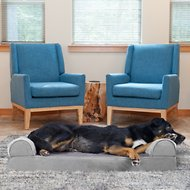 FurHaven Faux Fur & Velvet Memory Top Sofa Dog & Cat Bed, Smoke Gray, Large
