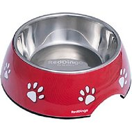 Red Dingo Melamine With Stainless Steel Insert Dog Bowl, Paw Prints Red, Medium