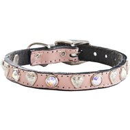 Woofwear Heart & Crystal Pink Leather Dog Collar, 8-in
