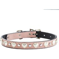 Woofwear Heart & Crystal Pink Leather Dog Collar, 14 - 18 in