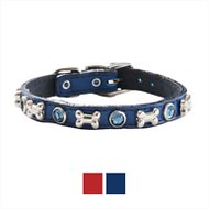 Woofwear Bone & Crystal Leather Dog Collar, Blue, 8-in