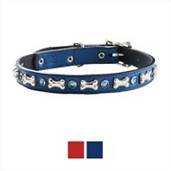 Woofwear Bone & Crystal Leather Dog Collar, Blue, 14 - 18 in