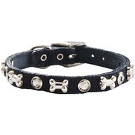 Woofwear Bone & Crystal Black Suede Dog Collar, 8-in