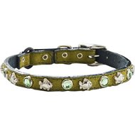 Woofwear Fish & Crystal Green Suede Cat Collar, 7 - 9 in
