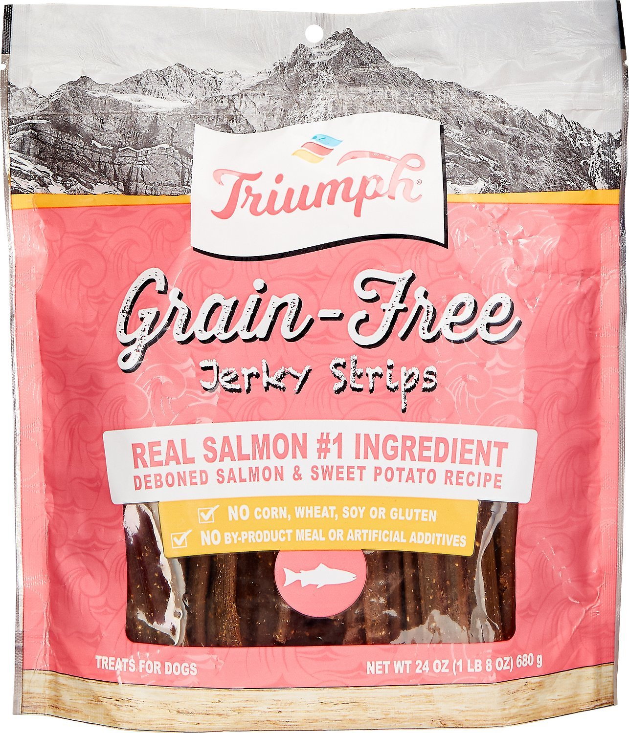 Triumph Grain Free Salmon Sweet Potato Recipe Jerky Dog Treats 24