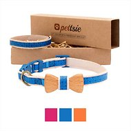 Pettsie Bow Tie Cat Collar with Friendship Bracelet, Blue