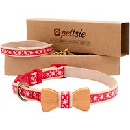 Pettsie Christmas Bow Tie Cat Collar with Friendship Bracelet, Red