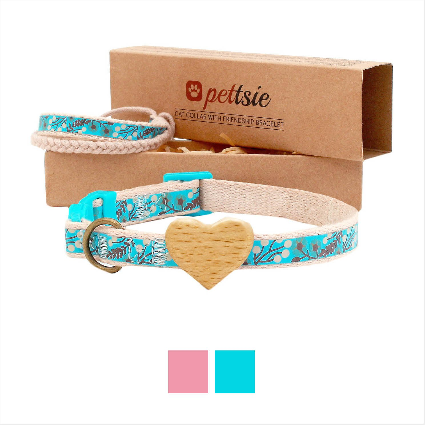 Comfortable Cotton Pettsie Cat Collar Breakaway Safety and Friendship Bracelet for You D-Ring for Accessories Adjustable 7.5-11.5 Inch 100/% Cotton for Extra Safety