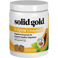 Solid Gold Supplements D-Zyme + Probiotics Healthy Digestion Soft Chews Grain-Free Dog & Cat Supplement, 120 count
