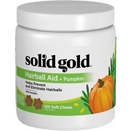 Solid Gold Supplements Hairball Aid + Pumpkin Soft Chews Grain-Free Cat Supplement, 120 count