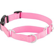 Frisco Solid Martingale Dog Collar with Buckle, Pink, Medium