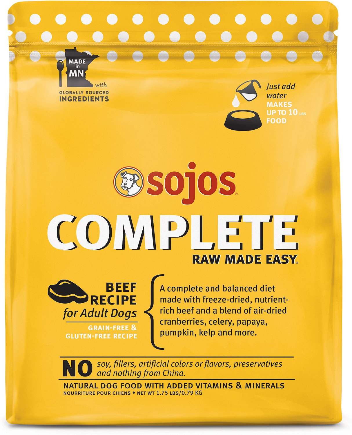 Sojos Complete Beef Recipe Adult Grain-Free Freeze-Dried Raw Dog Food,  1 75-lb bag