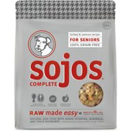 Sojos Complete Turkey & Salmon Recipe Senior Grain-Free Freeze-Dried Raw Dog Food, 1.75-lb bag