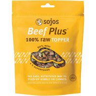 Sojos Beef Plus 100% Raw Grain-Free Dog Food Topper, 4-oz bag