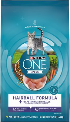 2. Purina ONE Hairball Adult Formula Dry Cat Food