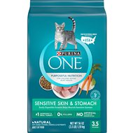 Purina ONE Sensitive Skin & Stomach Dry Cat Food, 3.5-lb bag